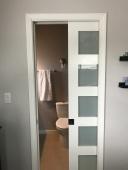 6-Paneled Frosted Window Pocket Door